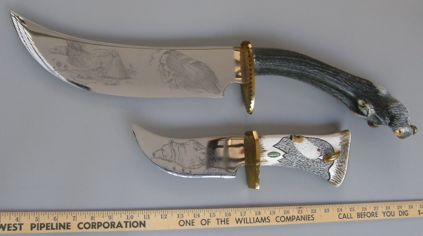 Ted Miller 2 Large Carved Knives