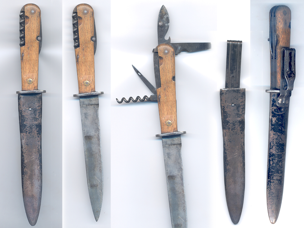 S Trench Knife With Tool Blades Folding In Handle