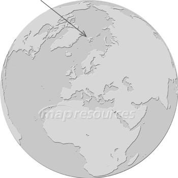 Globe centered on Svalbard